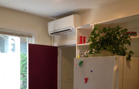 Ductless AC can be installed over doorways.