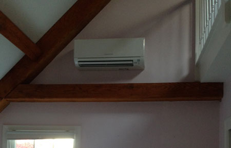 Ductless heating and cooling can be installed in rooms with difficult angles.