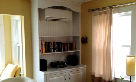 Short on space? Preferred Air can even install the ductless systm through a shelving unit.